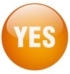 Yes orange round gel isolated push button vector
