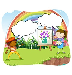 Artists painting on canvas in the park vector