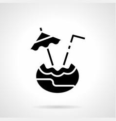coconut drink glyph style icon vector image vector image