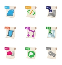 Kind of files icons set cartoon style vector image