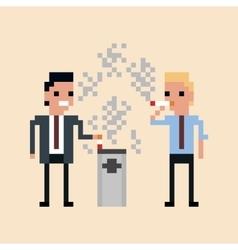 pixel art of office workers smoking a vector image vector image