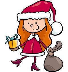 santa claus kid cartoon vector image
