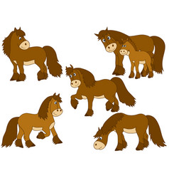 set of cute cartoon horses vector image vector image