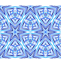 thin kaleidoscope star pattern blue vector image vector image