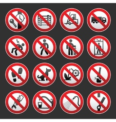 a set of signs prohibiting on gray background vector image