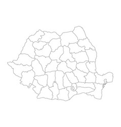 Administrative counties of romania map of vector