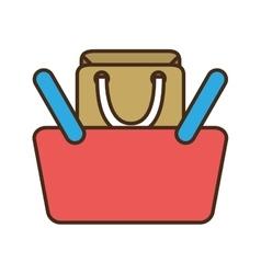 cartoon red basket shopping bag gift online vector image vector image