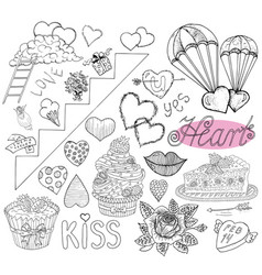 design set with love symbols for valentines day vector image