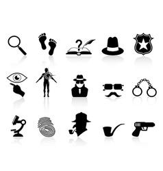 Black detective icons set vector
