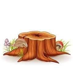 Cartoon of tree stump and mushroom vector image vector image