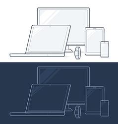 Computer notebook tablet phone smart watch vector