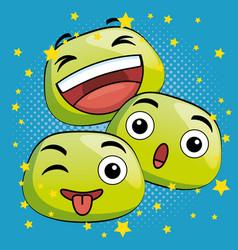 cute emoji cartoon icons vector image