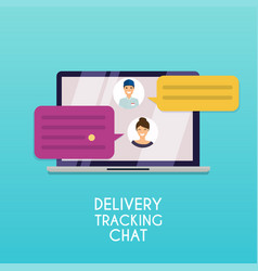 Delivery tracking chat computer with text vector