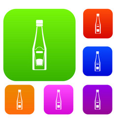 Bottle of ketchup set color collection vector
