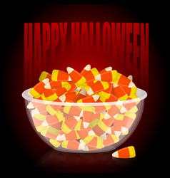 Happy halloween bowl and candy corn sweets on vector