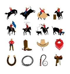 Rodeo Flat Color Icons vector image vector image