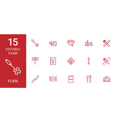 15 fork icons vector image