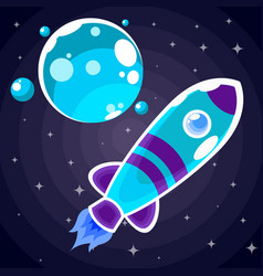 a blue rocket sticker with purple stripes and blue vector image