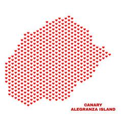 alegranza island map - mosaic of heart hearts vector image