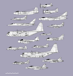 American navy and air force attack planes vector