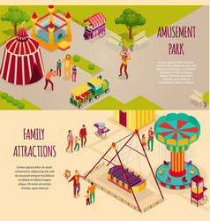 amusement park isometric banners vector image