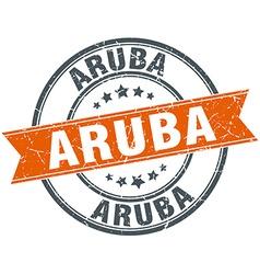Aruba red round grunge vintage ribbon stamp vector