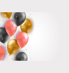 background with glossy air 3d flying balloons and vector image