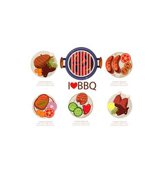 barbecue icons set grilled food menu flat vector image