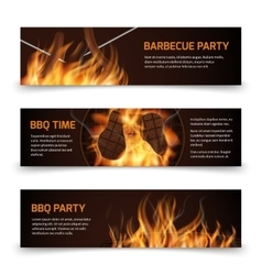 Bbq grill party horizontal banners set with vector