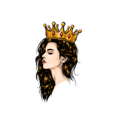 beautiful girl in crown girl with long hair vector image
