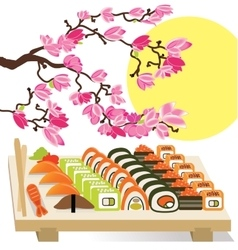 Beautiful set of Sushi Japanese food under the vector