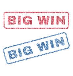 Big win textile stamps vector