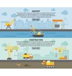 Building construction crane flat banners set vector image
