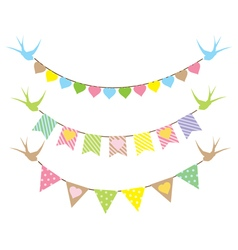 bunting hearts swallows vector image