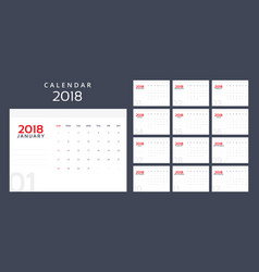 calendar planner for 2018 year vector image