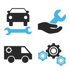 Car Service Flat Icons vector image