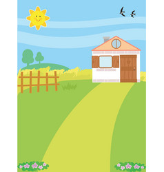 cartoon country background with home vector image