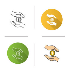 Charity icon flat design linear and color styles vector