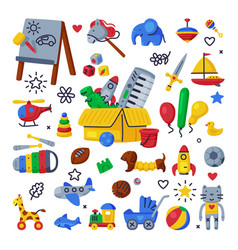 children toys set various objects for kids game vector image