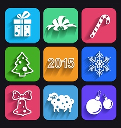 Christmas and new year flat icons with long shadow vector image