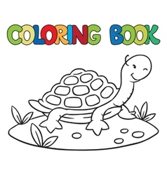 Coloring book of little funny turtle vector image
