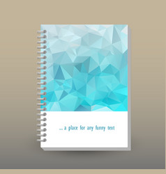 Cover of diary or notebook icy light blue vector