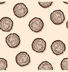 Cute autumn tree stump cartoon seamless pattern vector
