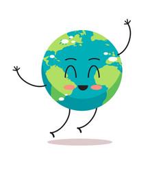 cute earth character waving hand cartoon mascot vector image