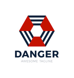 danger radiation hexagon logo filled radiation vector image