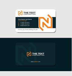 dark business card with orange letter n vector image