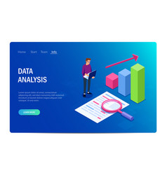 data analysis with characters design or template vector image