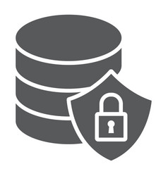 Database protection glyph icon data and analytics vector