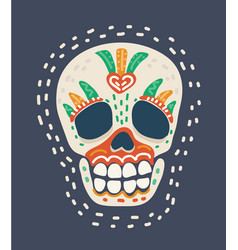 day dead colorful skull vector image