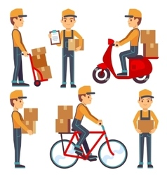 Delivery service man with boxes characters vector